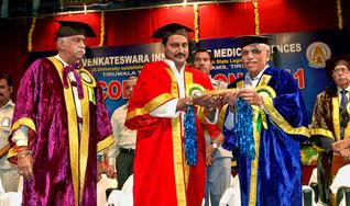 Honour: Chief Minister N. Kiran Kumar Reddy conferring honorary doctorate on former V-C of Manipal University B.M. Hegde at the 2nd convocation of SVIMS in Tirupati on Thursday. — Photo: K.V. Poornachandra Kumar